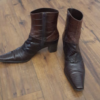 Via Spiga - 80's Brown Leather Reptile Boots