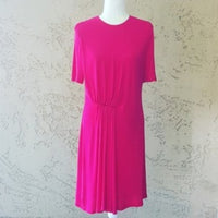 Givenchy - Magenta High Neck Ruched Midi Dress