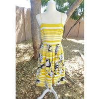 Jessica Howard - 1990's Yellow Stripe & Floral Sundress