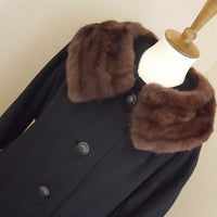 Vintage - 1950's Black Wool & Mink Collar Coat