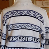 Vintage - Navy & White Striped Mock Sweater