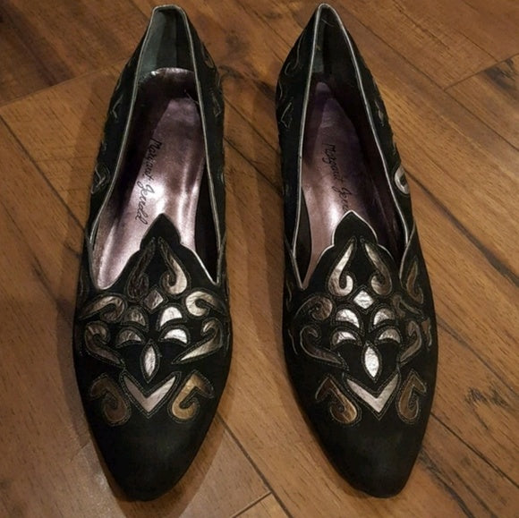 Margaret Jerrold - Black Metallic Smoking Loafers