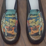Vintage - Brown Leather Italy Beach Scene Mules