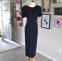 Vintage - Black Deep White Satin Back Midi Dress