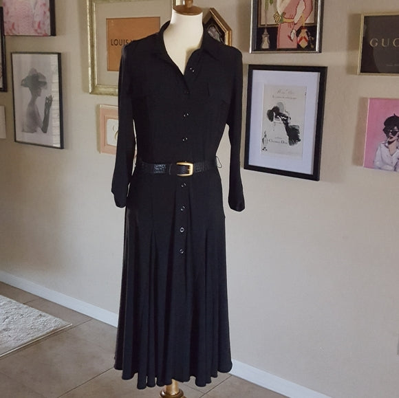 Vintage - Black Jersey Knit Shirt Dress