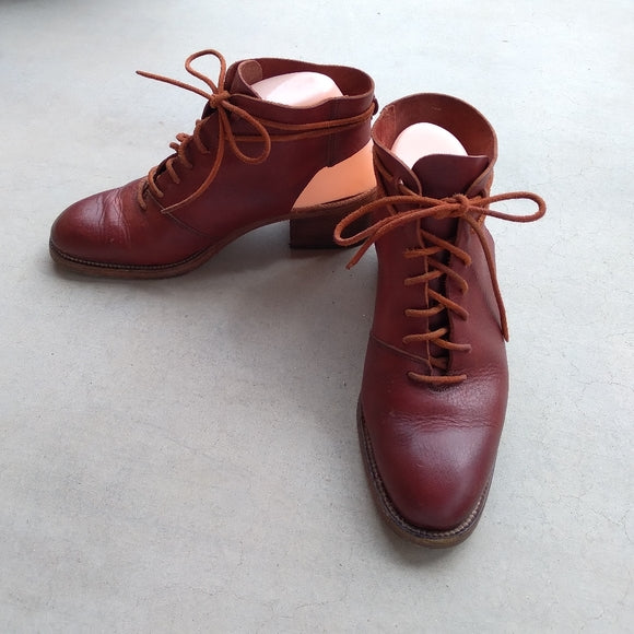 STOWE - Burgundy Burnished Ankle Boots