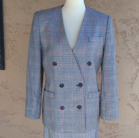 Vintage - Glen Plaid Double Breasted Blazer