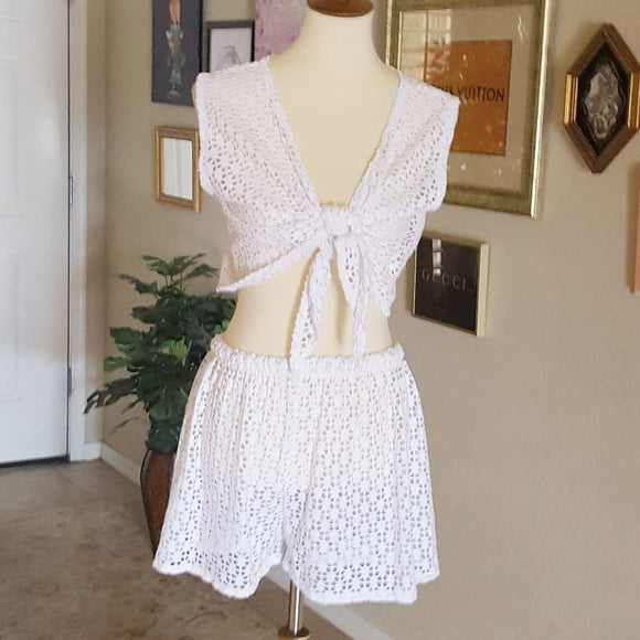 Vintage -  Two Piece White Open Weave Cover Up