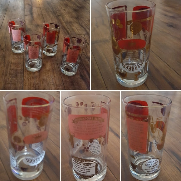 Vintage - Jeanette Cocktail Recipe Bar Glasses (4)