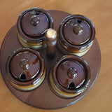 Vintage - Lazy Susan Condiment Tray Covered Jar