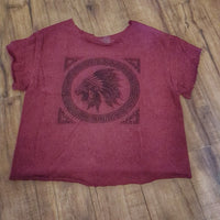 Vintage - Maroon Indian Head Distressed Tee