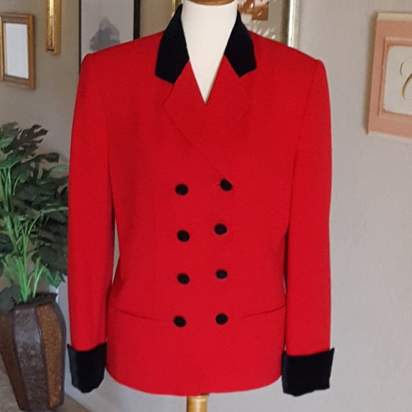 Vintage - Valerie Stevens Red Wool & Velvet Double Breasted Blazer