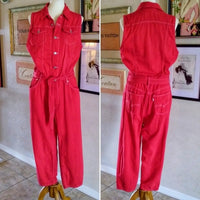 Vintage - Levi's Red Demin Button Fly Jumpsuit
