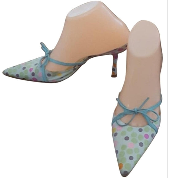 Jimmy Choo - 1990'S Pale Green & Blue Polka Dot Mules