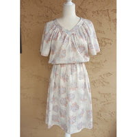 Vintage -ILGWU Label Floral V Neck Dress