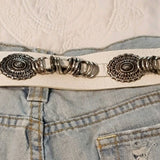 Vintage - White & Silver Leather Concho Belt