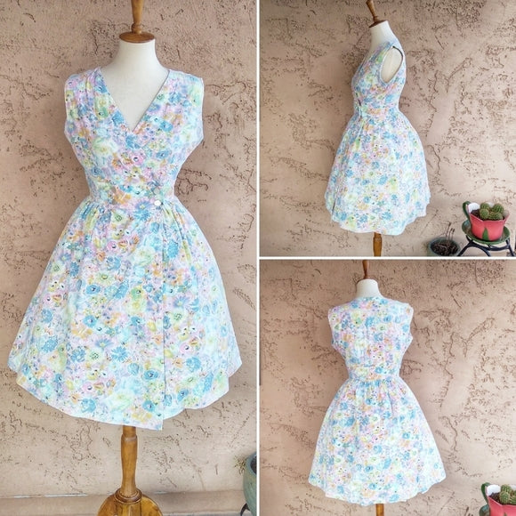 Vintage - 60's Cottagecore Floral Fit & Flare Dress