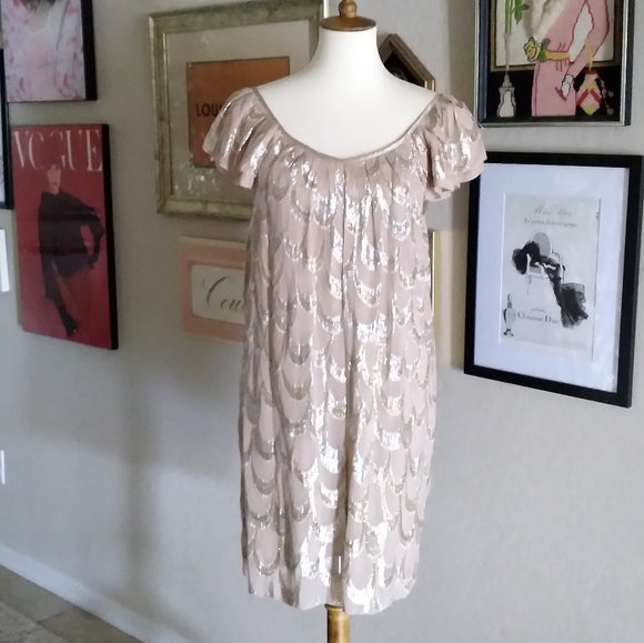 Vintage - Beige Silver & Gold Metallic Silk Dress