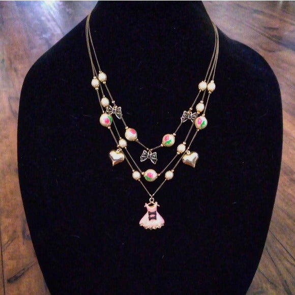 Betsey Johnson - Pink Dress Layer Necklace RETIRED