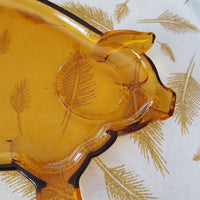 Vintage - Tiara Amber Glass Piggy Plate