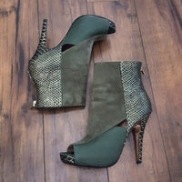 Charles David - 1980's Olive & Gold Peep Toe Booties
