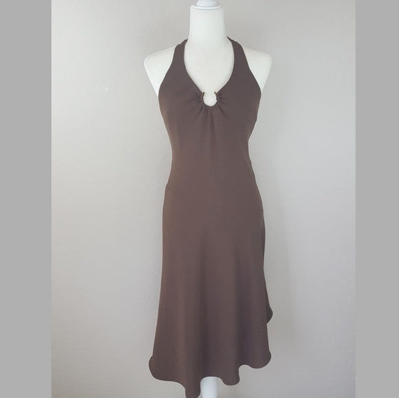 Evan Picone - 1970's Brown Halter Dress