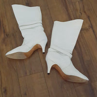Vintage - White Leather & Harness Boots