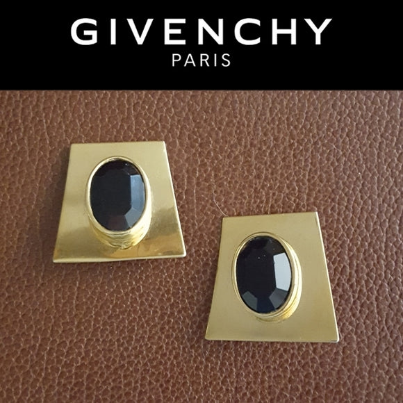 Givenchy - Vintage Gold & Black Stone Earrings
