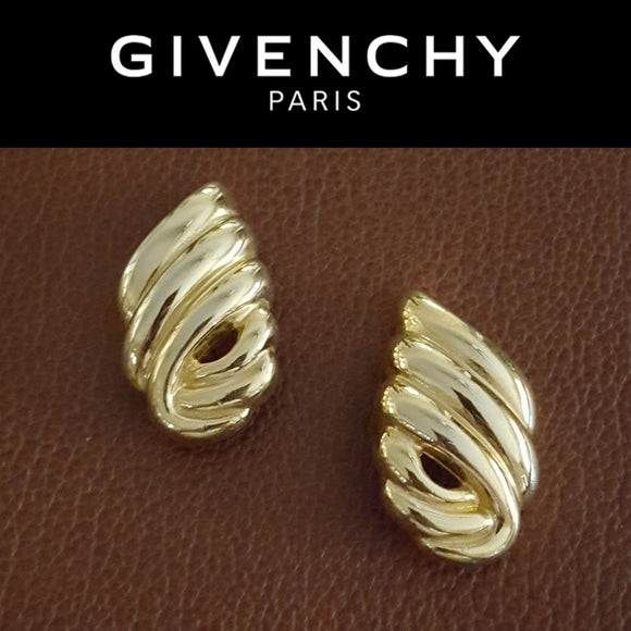 Givenchy - Vintage Grooved Gold Earrings