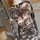 Vintage - 90's Newport News Leopard Wrap Dress