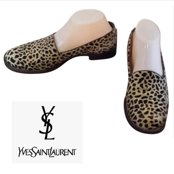 Yves Saint Laurent - 1990's Leopard Pony Hair Loafers
