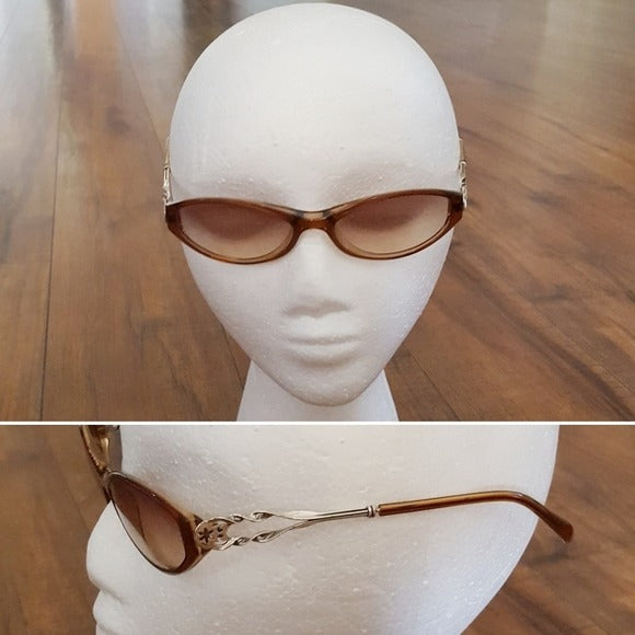 Vintage - 70's Oval Brown & Silver Sunglasses