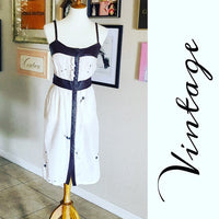 Vintage - Brown Leather & Cream Sundress