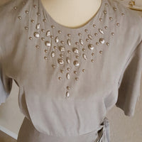 Vintage - Scarlett Gray Embellished Wrap Dress