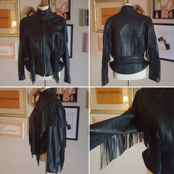 Vintage - Leather Fringe Moto Jacket
