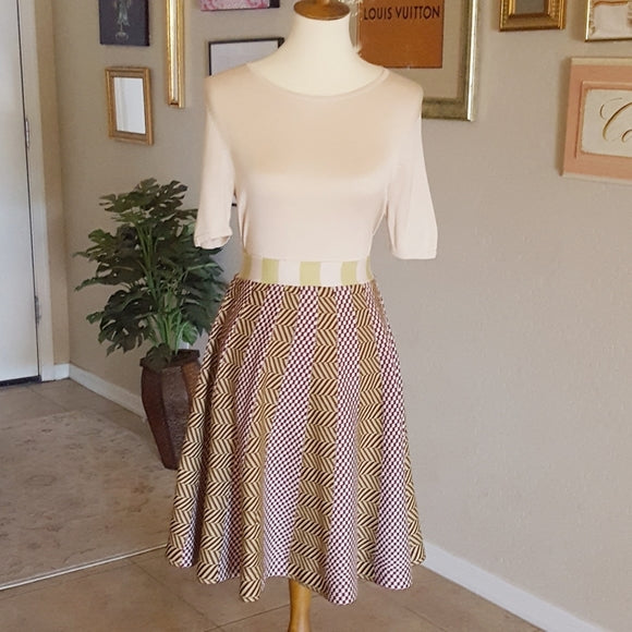 Vintage - Brown & Lime Knit Full Skirt