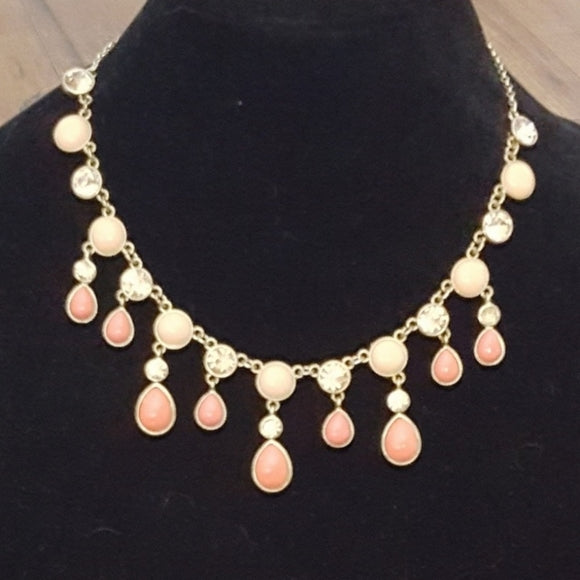 Trifari - Cream & Apricot Statement Necklace