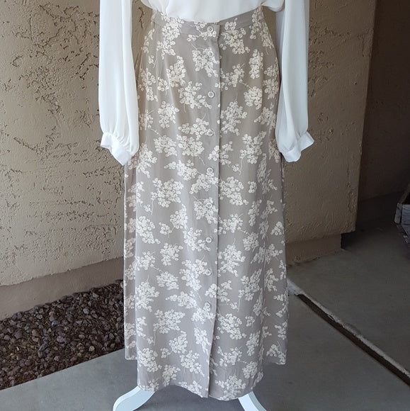 Vintage - JH Collectibles Taupe & Cream Silk Maxi