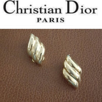 Christian Dior -Vintage Gold Grooved Earrings