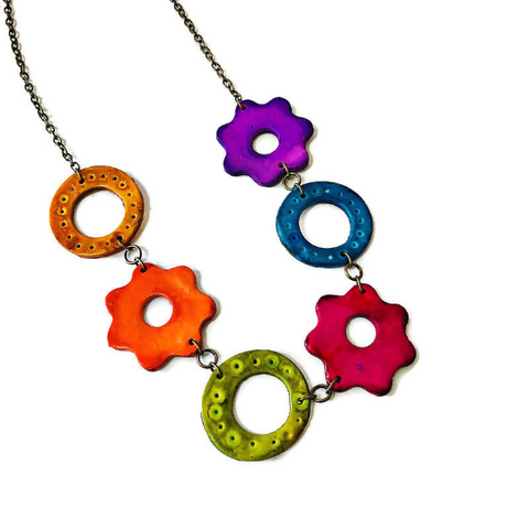Colorful Floral Beaded Necklace
