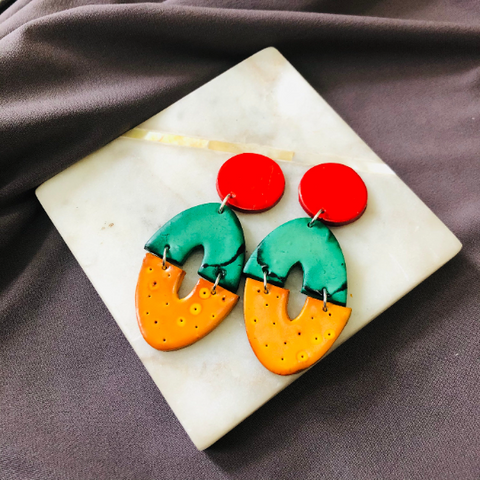 Bold Colorful Clip On Earrings