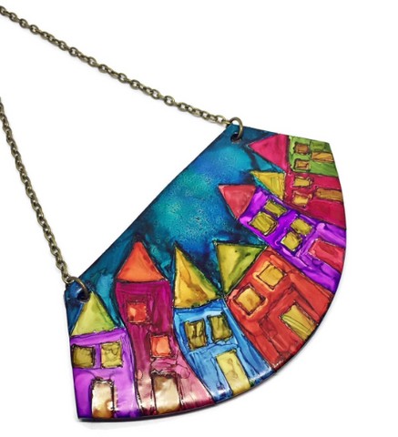 Colorful House Necklace