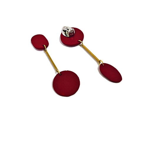 Red Edgy Clip On Earrings