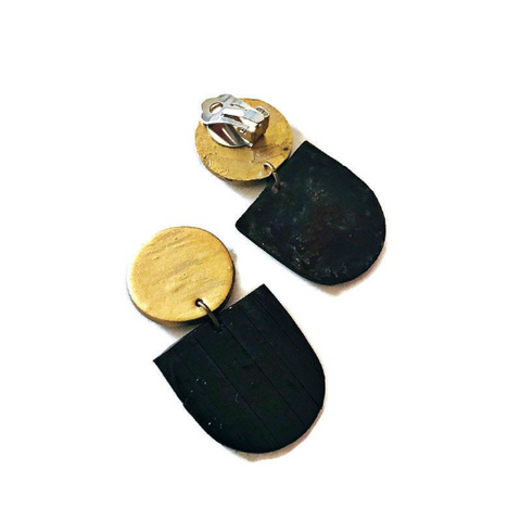 Black & Gold Modern Clip On Earrings Handmade from Clay & Painted