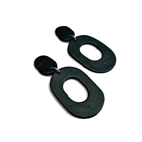 Black Statement Earrings, Polymer Clay Earrings - Sassy Sacha Jewelry
