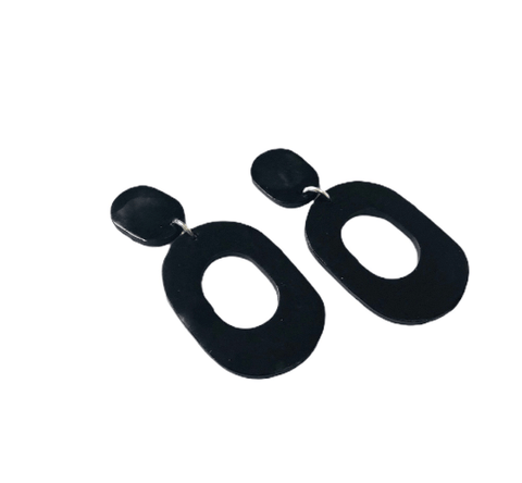 Minimalist Black Clip On Statement Earrings - Sassy Sacha Jewelry