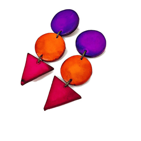 Colorful Geometric Statement Earrings - Sassy Sacha Jewelry