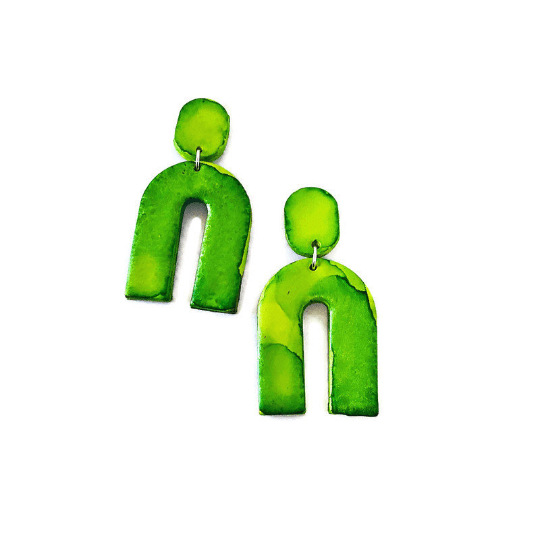 Green Arch Earrings, Large Statement Earrings - Sassy Sacha Jewelry