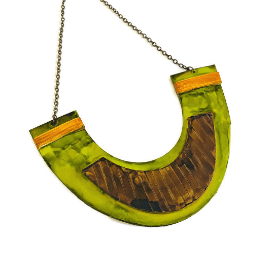 Large Bib Collar Necklace Handmade from Clay & Hand Painted - Sassy Sacha Jewelry