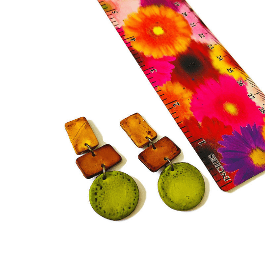 Trendy Fall Earrings in Brown, Yellow and Green